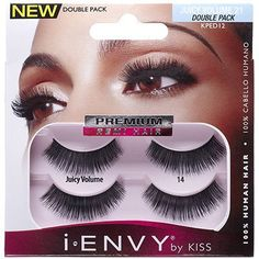 cf985fdeec3 Kiss i ENVY Double Pack 100% Human Hair Eyelashes Juicy Volume 12, KPED12