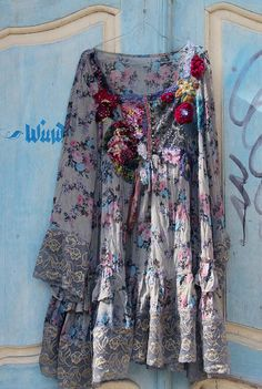 RESERVED for JUDY--- Bohemian romance- floaty silky tunic, free size, lagenlook, embroidered