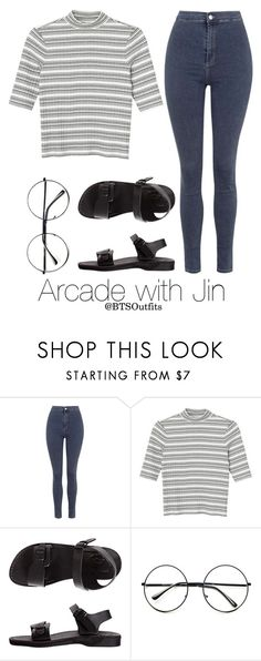 """Arcade with Jin"" by btsoutfits ❤ liked on Polyvore featuring Topshop, Monki, American Apparel and Retrò"