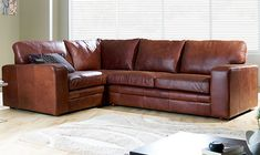 Check out Ashmore Leather Corner Sofa Brown Right Hand Facing from