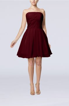 Burgundy Homecoming Dress - Cute Backless Chiffon Mini Ruching