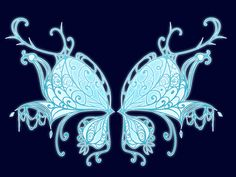 Commission: Antigonia by Dornenspieler on DeviantArt Cool Symbols, Wings Drawing, Fairy Queen, Blue Wings, Wings Design, Anime Girl Drawings, Dress Sketches, Fairy Wings, Fantasy Weapons