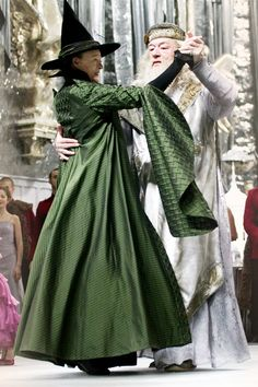 """Maggie Smith and Michael Gambon, as Professor McGonagall and Professor Dumbledore, dancing at the Yule Ball. """"Harry Potter and The Goblet of Fire"""", 2005"""