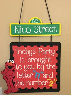 This listing is for an Elmo birthday door sign. It features Elmo and says, Todays Party is brought to you by the letter ____ and the number _____. I will put your Childs initial and birthday number to customize the sign for you. I can make this sign with other colors or characters. I