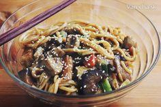 Rezance s baklažánom, hríbami, tofu a zeleninou (fotorecept) - Recept Japchae, Tofu, Live, Ethnic Recipes