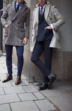 Navy suit, blue shirt, navy tie, grey windowpane coat; navy db pinstripe suit, white shirt, grey tie, brown double monk strap shoes