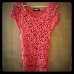 Pink crocheted top Flower design. Size Large - stretches but fits more like a medium. Worn twice. Tops