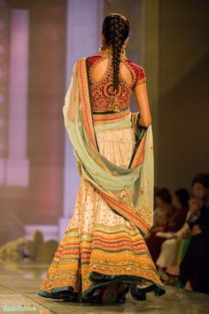 blush pink lehenga multi coloured borders 2 Tarun Tahiliani India Bridal Fashion Week 2014