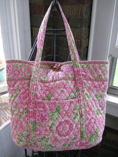 Vera Bradley Retired Petal Pink Vera Bag Tote Purse Large Never Used