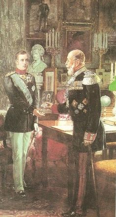 Konstantin I getting a medal from his grandfather, Kaizer Wilhelm Greek Royal Family, Greece, Royalty, Marquis, Photo And Video, Painting, King, Vintage, Art