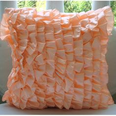 Vintage Peach Sorbet - Throw Pillow Covers - 20x20 Inches Satin Pillow Cover in Pastel Peach Color with Satin Ruffles. $27.50, via Etsy.