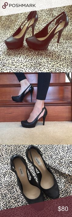 """GUESS snakeskin platform pseudo-slingback pumps These classic and chic pumps are the perfect addition to any wardrobe, and even take a solid black outfit to the next level. (Stiletto heel, slip-on pumps, 4.5"""" heel with 1"""" platform feels like 3.5"""" heel) Guess Shoes Heels"""