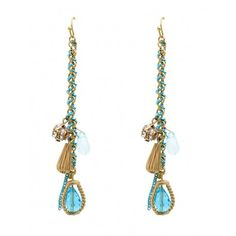 INTERLACED COLOR CHAIN FACETED CLEAR BEAD EARRING