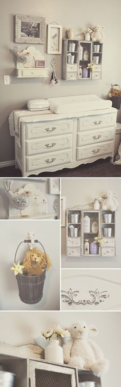 (Hanging wall cabinet/shelf) A vintage dresser as a changing table, a wall collage and a neutral color palate is so SoBo!
