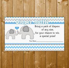 Elephant Diaper Raffle Blue, Baby Shower Diaper Raffle Boy Baby Shower, EL003B, Instant Download