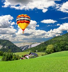 Picture - Hot air ballon in the sky above St Wolfgang, Austria. | PlanetWare