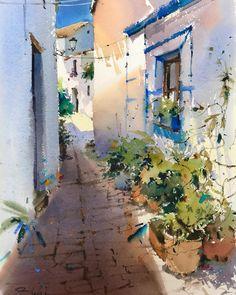 Pleinair in Castellar de la Frontera 😎🎨😀 Watercolor Sketch, Watercolor Landscape, Watercolour Painting, Cool Doors, Spanish Painters, Beach Art, Painting Inspiration, Insta Art, Artwork