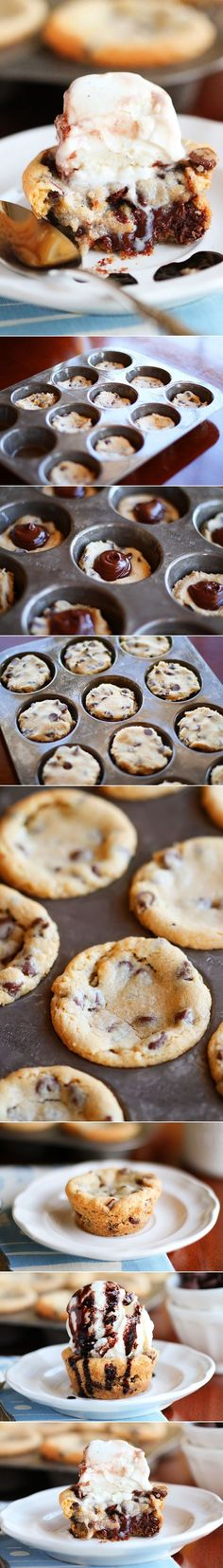 Deep Dish Chocolate Chip Molten Lava Cookies made in a muffin tin!