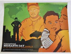 Rich in earth tones and eye catching visuals, this off-set litho commemorating International Migrants Day is a timely and rare find.