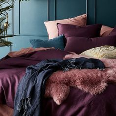Home Republic - Vintage Washed Linen Quilt Cover - Bedroom Quilt Covers & Coverlets - Adairs online Burgundy Bedroom, Bedroom Green, Maroon Bedroom, Jewel Tone Bedroom, Blue And Pink Bedroom, Emerald Bedroom, Burgundy Bedding, Pink Blue, Blue Grey