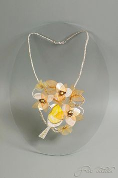 Textile Necklace with Silk Birds and Amber Flowers - Beautiful!