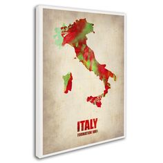 Italy Watercolor Map by Naxart Painting Print on Wrapped Canvas