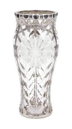 A Silver Overlay and Wheel Cut Glass Vase Height 7 3/8 inches.