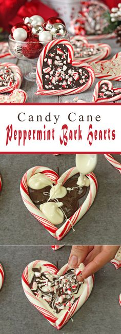 Candy Cane Peppermint Bark Hearts, This easy Christmas dessert is adorable for thanksgiving gift.