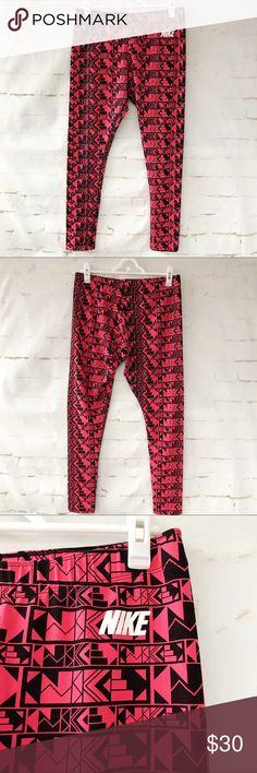 "Nike Geometric Salmon Leggings See pictures for material.  Waist: 15""-19"".  Length: 34"" Nike Pants Leggings"