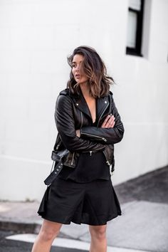 Leather jacket with black skirt