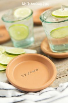 DIY Terra Cotta Stamped Coasters - learn how to make these amazingly cute coasters - perfect for Mother's Day Gifts, birthday gifts, for your home and more! #BritaStream #ad #DIY #giftidea @AOL_Lifestyle @Brita