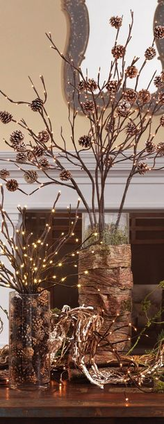 Lit Branches in Vases. This is such a simple idea!!