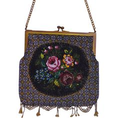 Micro Beaded Art Nouveau Purse with Floral Bouquet Oval Medallion from fadedrose on Ruby Lane