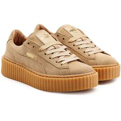 FENTYxPuma by Rihanna Suede Creeper Sneakers ($165) ❤ liked on Polyvore featuring shoes, sneakers, beige, puma sneakers, beige sneakers, suede trainers, beige suede shoes and suede shoes