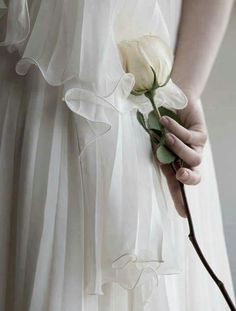 ethereal white dress & rose