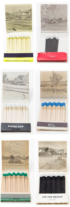 Krista Charles creates graphite drawings inside old matchbook covers, based on Google street view of the address of the business advertised on the matchbook.