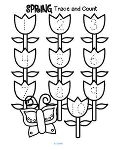 ***FREE*** Spring Trace and Count. Here are three Spring tracing and counting pages for early learners. Count the sets, recognize and trace the numbers, add extra details (bees, worms?) and color if desired. April Preschool, Preschool Garden, Numbers Preschool, Preschool Curriculum, Preschool Themes, Preschool Printables, Preschool Lessons, Preschool Classroom, Preschool Worksheets