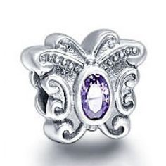 Gems and Silver Purple Butterfly Birthstone Charms   Fit pandora,trollbeads,chamilia,biagi,soufeel and any customized bracelet/necklaces. #Jewelry #Fashion #Silver# handcraft #DIY #Accessory