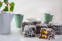 Maggie Beer's Lamington recipe features her Raspberry and Pomegranate Jam as a special addition to the Australian classic. Beer Recipes, Gourmet Recipes, Baking Recipes, No Bake Treats, No Bake Desserts, Dessert Recipes, Pomegranate Jam, Lamingtons Recipe, Afternoon Tea Cakes