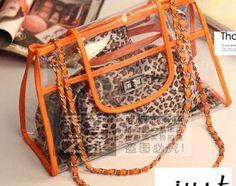 Crystal clear bag beach bag liner plastic bag shoulder bag leopard handbags B111 diagonal chain $69.47