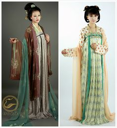 moonbeam-on-changan:Chinese hanfu collectionin Tang dynasty style, both half and whole length, by 锦瑟衣庄. This type is ruqun(襦裙).