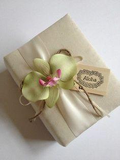 Hawaiian Photo Album - Green Phalaenopsis Orchid, Ivory Ribbon, Aloha Wood Tag