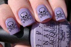 Skull and Crossbones Nail Decals via Etsy. In honor of Talk Like A Pirate Day... or any day!
