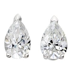 House of Eléonore Pear Diamond Gold Stud Earrings | From a unique collection of vintage stud earrings at https://www.1stdibs.com/jewelry/earrings/stud-earrings/