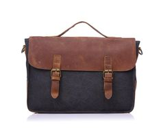 Canvas messenger bag with crazy horse leather trim and space for a laptop. Dimensions: x x Canvas Messenger Bag, Survival Equipment, Waxed Canvas, Cool Things To Buy, Stuff To Buy, Briefcase, Leather Bag, Satchel, Handbags