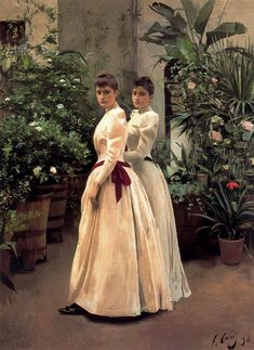 Portrait of Two Young Ladies N. - Ramon Casas y Carbó - 1890 Spanish Painters, Spanish Artists, Ramones, Woman Painting, Figure Painting, Dress Painting, Esteban Murillo, Barcelona Street, Barcelona Spain