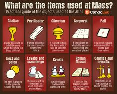What Are The Items Used At Mass? Practical Infographic To Guide You Catholic quotes, infographics, memes and more resources for the New Evangelization. Infographic: What are the items used at Mass? Catholic Religious Education, Catholic Theology, Catholic Catechism, Catholic Mass, Catholic Crafts, Catholic Religion, Catholic Quotes, Catholic Prayers, Catholic Traditions