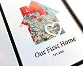 Our First Home - Personalized Home Map - Matted Gift- First Home Gift- New House Housewarming Gift- Closing Gift Realtor