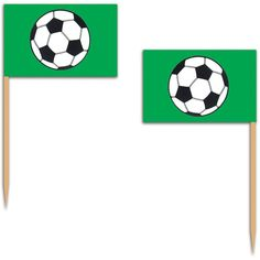 These Soccer Ball Flag Picks are great for soccer themed parties. Put these in cupcakes, sandwiches, or whatever food you want to make them fit for your party. Easily disposable when your party is ove
