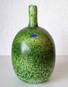 Iittala Nuutajarvi Oiva Toikka Art Glass Bottle Vase Green Excellent Condition | eBay
